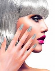Lösnaglar silver/glitter