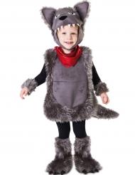 Fluffig grå vargdräkt barn
