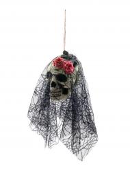 Hängande dödskalle med slöja - Halloweenpynt 50 cm