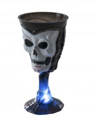 Svart dödskalleglas med lampa - Halloweendekoration