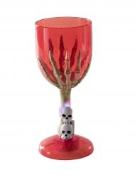 Lysande skeletthand - Rött glas till Halloweendukningen