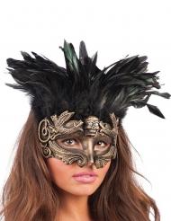 Dyster korå - Halloweenmask med fjädrar för vuxna