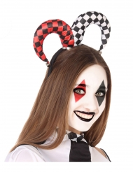 Svart, vitt och rödrutigt clowndiadem vuxen