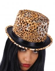Hög hatt med leopardmönster dam