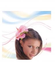 Hårklämma med rosa blomma