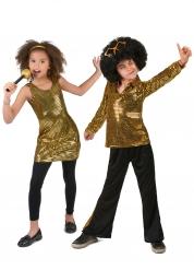 Gyllene diskopardräkt för barn till maskeraden
