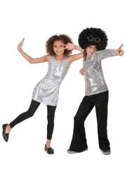 Silvrigt discopar för barn - Pardräkt till maskeraden