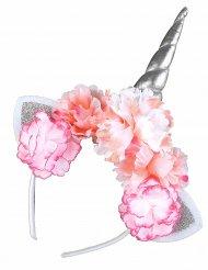 Blommigt och glittrigt enhörningsdiadem för vuxna
