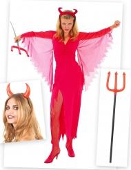 Djävul i lång klänning - Komplett Halloweenkit för vuxna