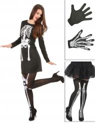 Skelettkit med klänning och tillbehör till Halloween