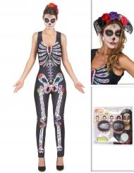 Vacker Calavera - Komplett Halloweenkit för vuxna