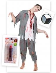 Zombie i skoluniform - Komplett Halloweenkit för vuxna