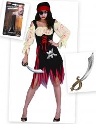 Fröken Piratzombie - Komplett Halloweenkit för vuxna