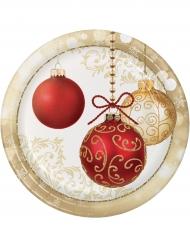 8 tallrikar med tryck av julkulor 23 cm