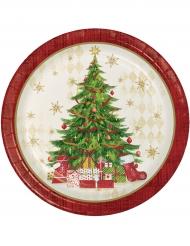 8 tallrikar med tryck av ståtlig julgran 22 cm