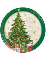 8 kartongtallrikar med julgranstryck 18 cm