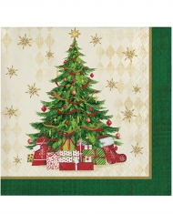 16 papperservetter med julgranstryck 25 x 25 cm