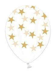 6 Genomskinliga ballonger med guldstjärnor