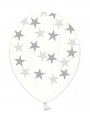 6 genomskinliga ballonger med silvriga stjärnor på - Julpynt
