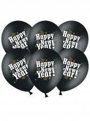 6 Svarta latexballonger Happy New Year