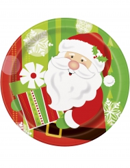 8 Papptallrikar med jultomte och julkapp 23 cm