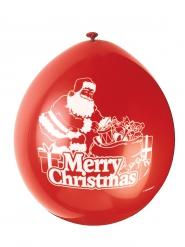 10 röda Merry Christmas latexballonger 23 cm