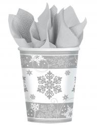 8 kartongmuggar med snöflingor 266 ml