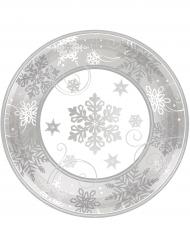 8 eleganta tallrikar smyckade med snöflingor