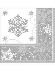 16 eleganta servetter med snöflingor 33 x 33 cm