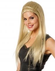 Lång & blond med flätor - Peruk till maskeraden för vuxna