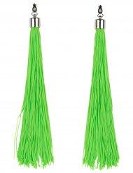 Neongröna örhängen med fransar vuxen