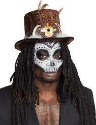 Voodoo hatt med hår - Halloweenhattar för vuxna