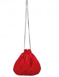 Röd väska i sammetsimitation - Maskeradtillbehör 27 cm