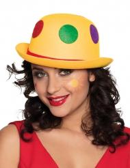 Gul clownhatt med färgglada prickar vuxen