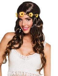 Långt brunt hår med blomkrans - Peruk till temakvällen