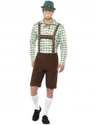 Alpdräkt med gröna rutor - Oktoberfestdräkt för vuxna