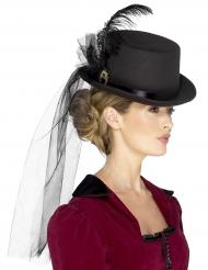 Steampunk hatt med slöja och fjäder - Maskeradhatt