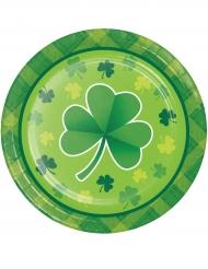 8 kartongtallrikar med tryck av treklöver till St. Patrick