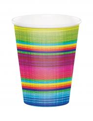8 färggranna muggar med tryck av textil - Festdukning