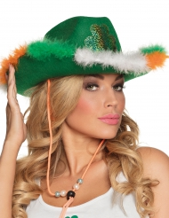 Cowboyhatt med färgat fluff till St. Patrick