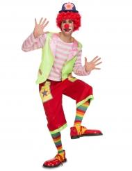 Randig rosa clown - Maskeradkläder för vuxna