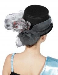 Cylinderhatt med grått band och rosett - Halloweenhattar för vuxna