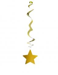 6 Dekorationsspiraler med glansig stjärna 80 cm