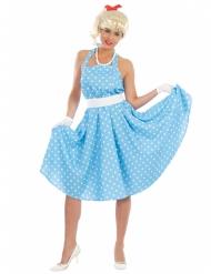 Blå polkaklänning 50-tal dam