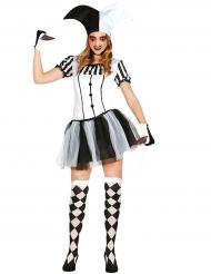 Svarvit skräcknarr - Halloweenkostym för vuxna