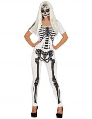 Vit overall med svart skelett - Halloweenkläder för vuxna