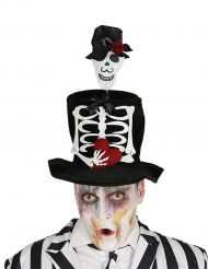 Höghatt med skelettmotiv -Halloween hattar