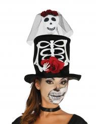 Vigsel höghatt med skelettmotiv - Halloween hattar