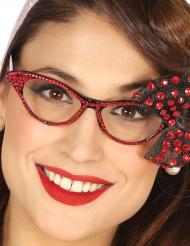 Svarta 50-talsglasögon med rött strass - Maskeradtillbehör