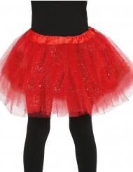 Glittrig röd ballerinakjol barn